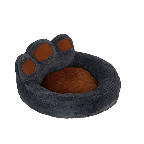 UEETEK Pfoten Hundebett, weich und warm Hundekorb Schlafplatz für Haustier Hund Welpen Katze kleine Tiere Größe S 50 x 55 x 30cm (Dunkelgrau)
