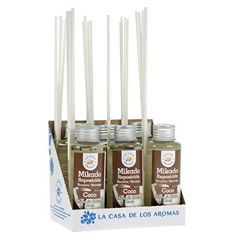 La Casa de los Aromas, Set de 6x100ml Ambientadores Mikado Coco para Reposición con Varillas, Difusor Líquido de Aroma Coco, Perfume Duradero para el Hogar, Baño, Casa