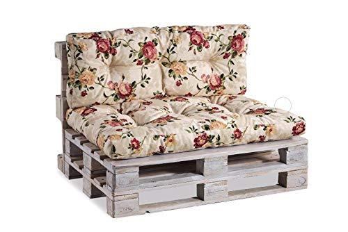 Palettenkissen Palettenauflagen Sitzkissen Rückenlehne Gesteppt PPI (Sitzkissen 120x60 Gesteppt, Blumen 4)