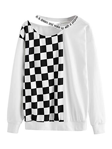 WDIRARA Women's Casual Long Sleeve Plaid Cold Shoulder Pullover Sweatshirt White M