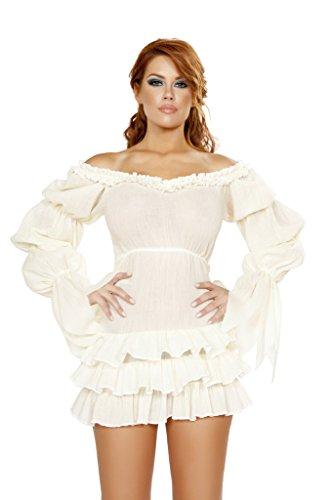 Ruffled Pirate Dress Adult Costume White - Medium