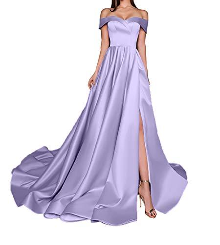 Charmant Damen Einfach Satin Langes Abendkleider Ballkleider Brautjungfernkleider Partykleider A-Linie Rock -48 Lilac
