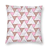Marble Rose Gold Triangles Velvet Soft Decorative Square Throw Pillow Case Cushion Cover Pillowcase for Livingroom Sofa Bedroom with Invisible Zipper 20x20 Inches