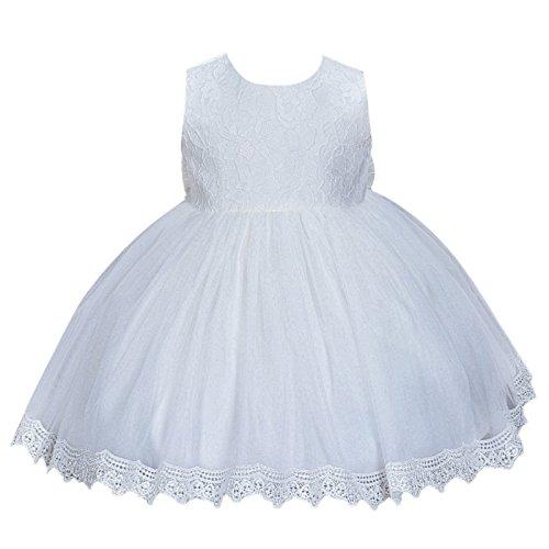 Happy Cherry Babymädchen Kleider Baby Süßes Kleid Kleine Prinzessin Kleid Ärmelloses Falten Kleid mit Große Schleife (Weiß, Gr.3(Körpergröße 56-62cm,0-3 Monate))