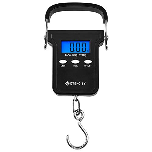 Etekcity Fishing Electronic Weighing Scales Digital Luggage Balance Postal Hanging Hook Scale with Tape Measure & Carrying Bag 50kg Capacity LCD Display Auto Hold Tare Function, Black