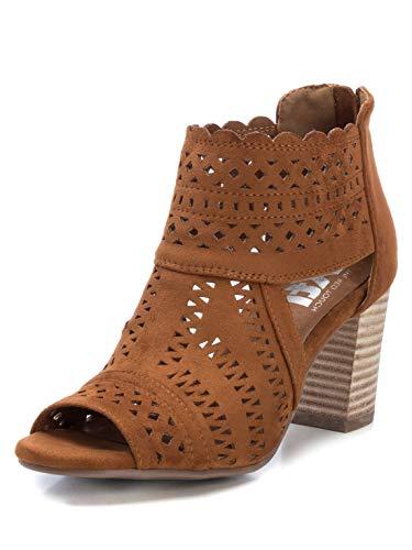 XTI - Botines para Mujer con Tacón Medio - Botines con Cremallera - Tacón 8 cm - Color Camel - Talla 37