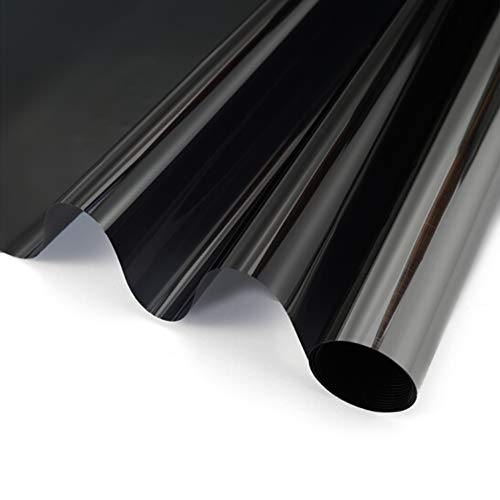 OFHome One Way Window Privacy Tint Film Sun Blocking Anti UV Window Sticker Heat Insulation Glass Film Self-Adhesive Static Cling Sun Film for Home Living-Room Magic Black (15.7inX118in)