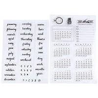 HEALLILY 2ピーススクラップブッキングスタンプ透明文字単語カレンダーパターンスタンプdiy装飾スタンプおもちゃ用フォトアルバム日記プランナーブック