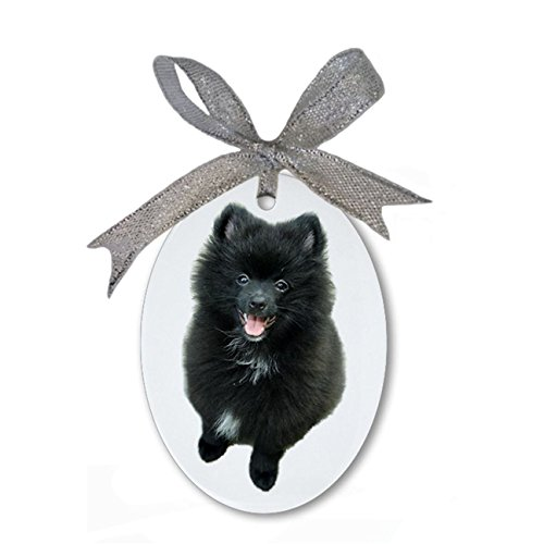 Adorable Black Pomeranian Puppy Dog Custom Personalized Porcelain Oval Christmas Ornament Hanging Gift