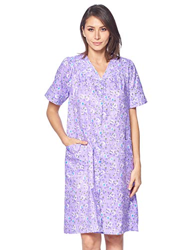 Casual Nights Women's Snap-front House Dress Short Sleeve Woven Duster Housecoat Lounger Robe, Floral Purple, Medium