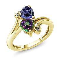 Gem Stone King 1.56カラット 天然 アイオライト (ブルー) 指輪 リング レディース 天然石 ミスティックトパーズ (グリーン) 天然 ダイヤモンド シルバー925 イエローゴールドコーティング