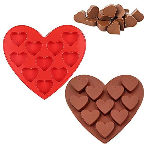 2 sztuki DIY forma do pieczenia, silikonowe formy do mydła, słodkie formy silikonowe, 10 otworów w kształcie serca nieprzywierająca forma do pieczenia ręcznie robionych mydła, czekolady, cukierków, babeczek (czerwony, brązowy)