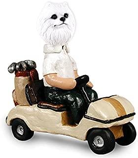 American Eskimo Miniature Golf Cart Doogie Collectable Figurine
