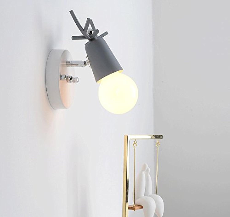 LAMPCHOU Wandleuchten,Wandlampe Nachttischlampe E27 Schlafzimmer Einfache Moderne Kreative Wohnzimmer Balkon Lampe Treppe Gang Wandlampen, 13  12Cm