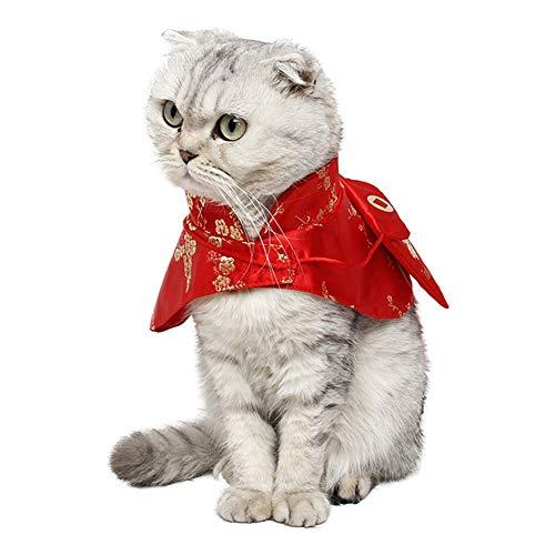 DishyKooker Haustier Kleidung Neujahr Umhang Chinesische Tang-Dynastie Kostüm mit rotem Umschlag für Katze Hund gelb