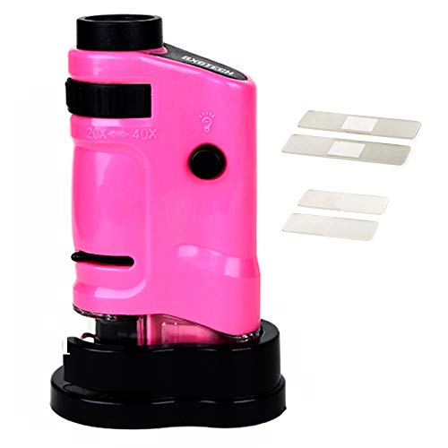BXGTECH LED Pocket Microscope 20X-40X Multifunctional Portable Microscope Compact Handhold Microscope for Learning, Education and Exploring in Pink