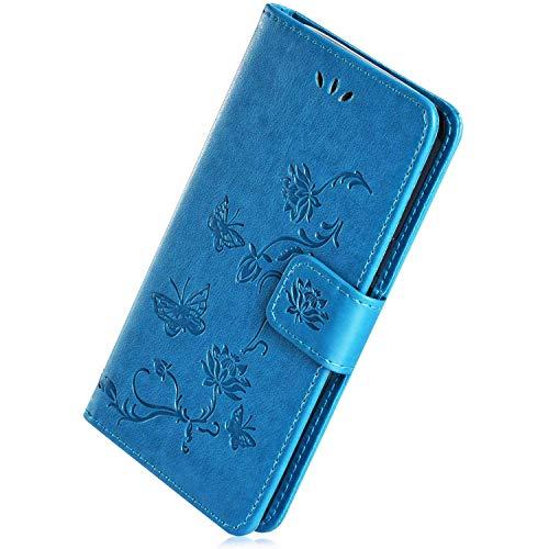 Herbests Compatible avec Huawei P Smart Z Coque Portefeuille Slim Etui Pochette Housse de Protection en Cuir Coque à Rabat Magnétique Housse Flip Case avec Papillon Lotus Fleur Motif,Bleu