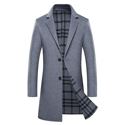 Hzikk Winter Double Sided Wolle Cashmere Overcoat Männer Business Casual Handgenäht Lange Mäntel,Grau,XXXXL