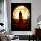 KWzEQ Cuadro En Lienzo Mujer Sexy y Elegante en Cuadros Rojos decoración de Arte de Pared hogar para Carteles de Sala de Estar,80x120cm,Pintura sin Marco