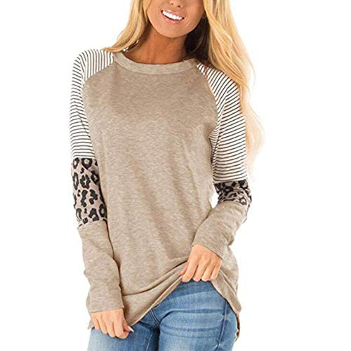 MoneRffi Womens Leopard Print Long Sleeve Tops Round Neck Striped Color Block Raglan Casual Tunic Tops Blouse Shirts Khaki