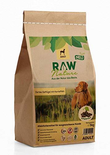RAW Nature Trockenfutter Adult - Natürlich Kaltgepresst - Getreidefreies Hundefutter - für ausgewachsene Hunde (5 kg)
