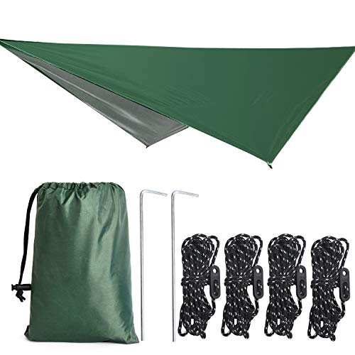 TOBWOLF Hammock Tent Tarp, Waterproof Rain Tarp, UV Protection Camping Tent Shelter Include Stakes & Ropes & Tensioners, Sand Resistant Beach Blanket for Camp, Park, Beach - Green