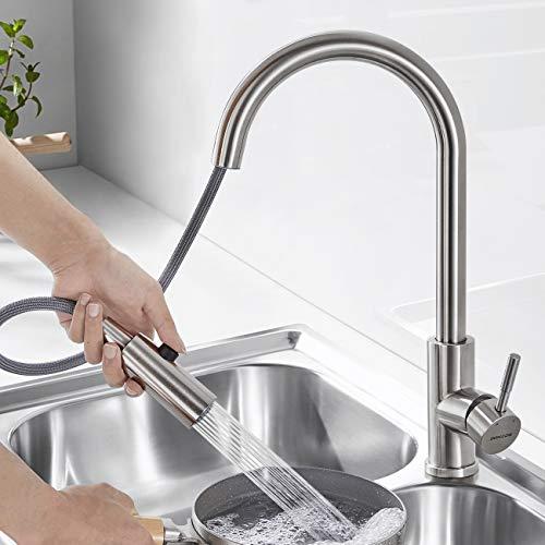 2 Strahlarten Wasserhahn küche Ausziehbar, WOOHSE 360° Drehbar Küchenarmatur mit Brause Spültischarmatur Ausziehbar, Mischbatterie Küche Edelstahl, Armatur Küche für Spülbecken