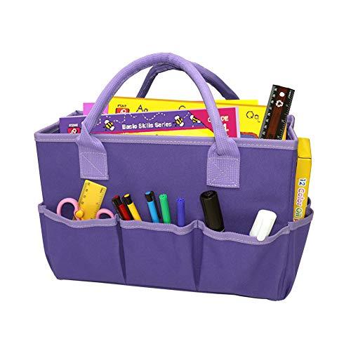 Bolsa de almacenamiento práctica portátil organizador con asa, bolsa de transporte monocolor, bolsa de la compra plegable para salón, habitación de los niños, organizador para casa, trabajo y exterior