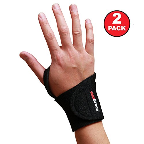 AidBrace Wrist Support Wrap (2 Pack) – Fits Both Hands and Helps with Carpal Tunnel, RSI, Arthritis, Tendonitis, and Sprains for Weak and Sore Wrists