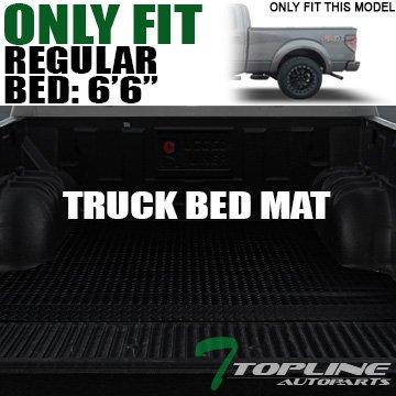 Topline Autopart Black Rubber Diamond Plate Truck Bed Floor Mat Liner For 15-20...