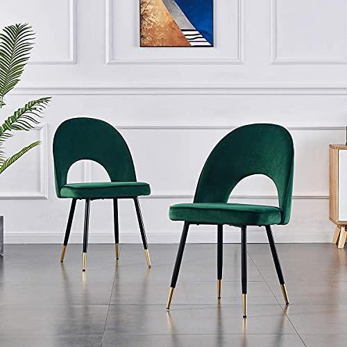 Esszimmerstühle Küchenstühle Wohnzimmerstühl 2er Set Samt grün Weich Kissen Sitz und Rücken Mit Gold Metallbeinen Küche Stühle für Hause und Wohnzimmer (Grün, 2)