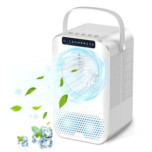 Enfriador de aire portátil Nuaer, aire acondicionado móvil con tanque de agua de 600 ml, enfriador de aire evaporativo portátil silencioso 4 en 1, 2 temporizadores, 3 velocidades, 7 colores, UV