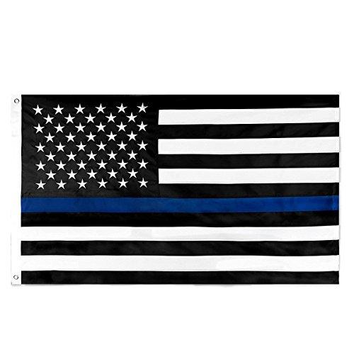 Hilai Homdox sottile linea blu bandiera 0,9x 1,5m nylon ricamato stelle strisce cucite Blue Line usa bandiere banner