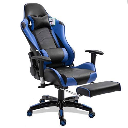 Gaming Stuhl Race Büro Stuhl Gamer Ergonomischer Stuhl Drehstuhl Computer Stuhl Ergonomie Konferenz Stuhl Arbeits Stuhl Lordosenstütze PU-Leder Verstellbarer Arbeitsstuhl (Blau & Fußstütze)