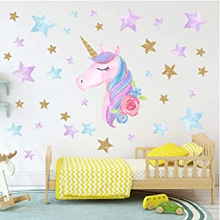 Colorful Unicorn Wall Decals for Kids Room Vinyl Peel and Stick Wall Stickers Nursery Baby Room Decoration Wall Stickers P...