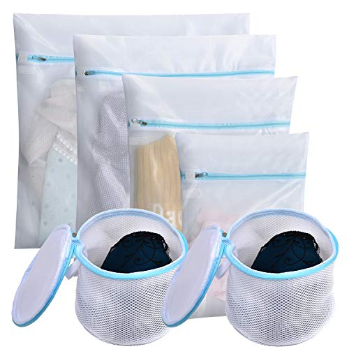 Polecasa Mesh Laundry Bags for Bras, Lingerie and Delicates - 6 Pack- Lead Free Fine Net Fabric with Strengthened Zipper for Bras, Socks, Bath Towels, Bed Sheet, Bedcover, Toys, Travel Organizing