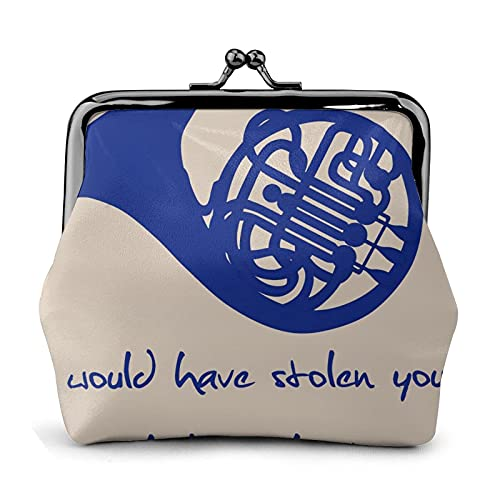 Coin Purse Wallet PU Leather Bag How I Met Your Mother Blue French Horn Womens Wallet Clutch Bag Ladies Retro Vintage Print Small Hasp