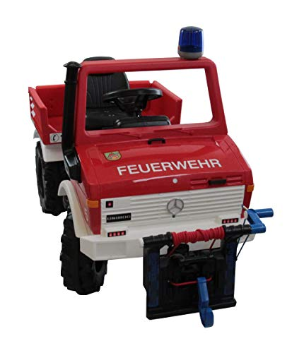 Rolly Toys RollyUnimog Fire Unimog (Feuerwehrauto, Seilwinde, Rundumleuchte, Flüsterlaufreifen, Kinder 3 - 8 Jahre, Sitz verstellbar) 038213