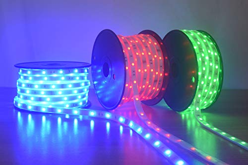 200Ft (2x100Ft) Long Run Waterproof IP67 24V RGB LED Strip Rope Light Music Sound SYNC Controller for Home Theater Backlight Crown Molding Accent Outdoor Roof Decks Railings Colors Lighting Decoration 2