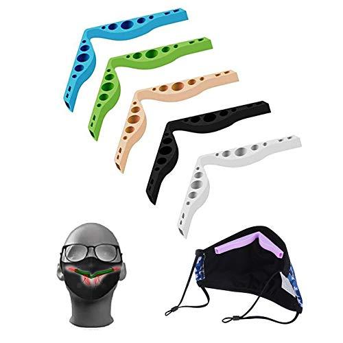 Lot de 5 coussinets de pont de nez anti-buée pour masque, en silicone, réutilisables, pour éviter la buée sur les lunettes