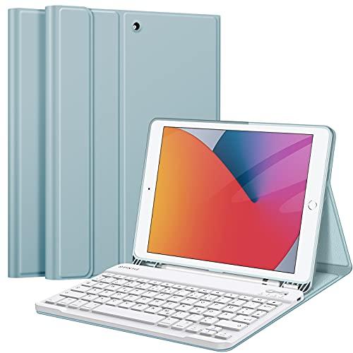 Fintie Tastatur Hülle für iPad 10.2 Zoll (9/8/ 7 Generation - 2021/2020/2019), Soft TPU Rückseite Gehäuse Schutzhülle mit Pencil Halter, magnetisch Abnehmbarer Tastatur mit QWERTZ Layout, Eisblau