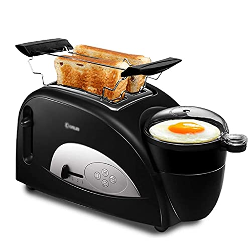 Tostadora 2 Tostadora y fabricante de huevos, 4 en 1 Máquina de desayuno para el hogar de 4 en 1 Tostado de pan y huevo, tostadora de ranura ancha con parrilla de acero inoxidable, 5 control de browni