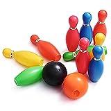 Juguetes de bolos Juego de juguete para jugar a los bolos Juego de plástico colorido de la bola de bolos Favores del partido Kit deporte niño juguetes educativos 12 piezas de regalo para niños bebé pa