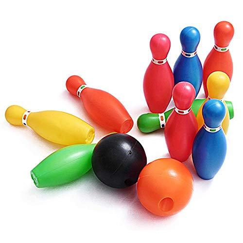 Xhtoe Bowlingspielzeug Bowling Spielzeug Set Spiel Bunte Kunststoff Bowlingkugel Pins Party Favors Kit Sport Kleinkind Lernspielzeug 12 Stücke Geschenk Für Kinder Baby für Kinder Kinder