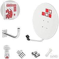 Diesl.com - Kit Parabólica 60cm + LNB + Soporte + Tacos a Pared + Conectores + 10x Bridas