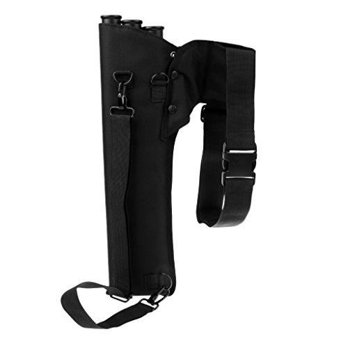 Magideal Caza Tiro con arco carcaj de lona con correa para el hombro ajustable 3tubos para uso o trasera de la cintura, negro