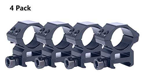 TACwolf Scope Rings 1 Inch Medium Profile Scope Mounts for Picatinny Weaver Rail 4 Pack