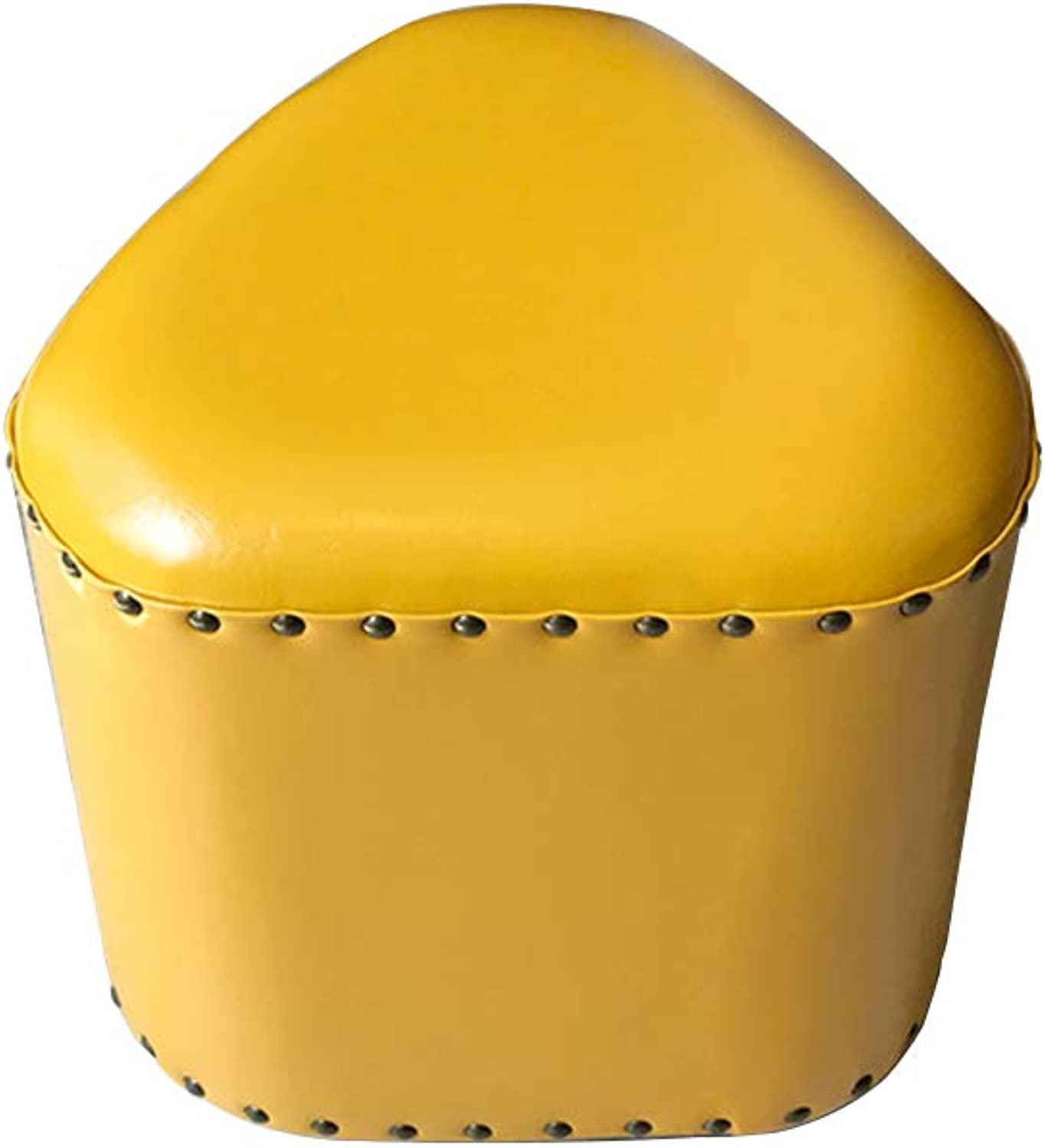 Stool Footstool shoes Bench Sofa Stool Change shoes Bench Wooden Stool Leather Creative American Short Triangle Sofa Multi-Function Stool (color   Yellow, Size   36  40cm)