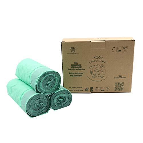VITAL VAC® - 45 Bolsas de Basura 20 litros - 100% Compostables y Biodegradables con Cordón de Autocierre - Certificados Ok Compost y EN13432