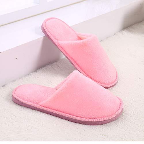 Qsy shoe Chaussures de Coton Pantoufles Chaudes d'hiver en Peluche résistant à l'usure Couples antidérapants, Rose, 38-39 adapté pour 37-38 Pieds
